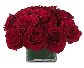 New York Flowers - Red Roses In  A Glass Cube - A University Floral Design