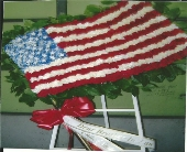 American Flag in Chicago, Illinois, Buds Flowers