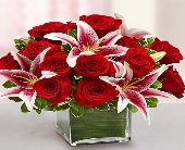 Modern Embrace Red Rose and Lily Cube in Aston PA, Wise Originals Florists & Gifts