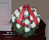 White Football Mum and Red Carnation Casket Spray in Islip NY, Flowers by Chazz