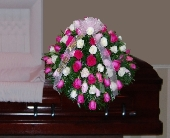 Casket Spray of All Roses in Islip NY, Flowers by Chazz