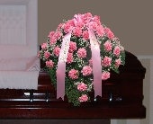 Carnations and Babies Breath Casket Spray in Islip NY, Flowers by Chazz