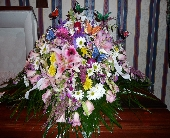 Mixed Flower Casket Spray with Butterfly Accents in Islip NY, Flowers by Chazz