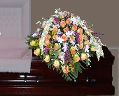 Casket of Yellow Roses, Orchids, and mixed fillers in Islip NY, Flowers by Chazz