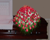 Red Roses and Babies Breath Casket Spray in Islip NY, Flowers by Chazz