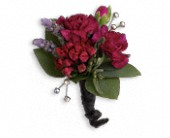 Red Carpet Romance Boutonniere in Charleston IL, Noble Flower Shop