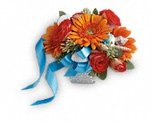 Sunset Magic Corsage in Monroe MI, North Monroe Floral Boutique