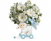 Teleflora's Sweet Little Lamb - Baby Blue in Burlington WI, gia bella Flowers and Gifts