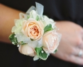 Blush Wrist Corsage in Midwest City, Oklahoma, Penny and Irene's Flowers & Gifts