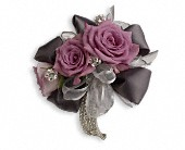 Roses And Ribbons Corsage in Lake Worth FL, Belle's Wonderland Orchids & Flowers