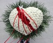 White Broken Heart of Carnations with Roses  in Brooklyn, New York, David Shannon Florist & Nursery