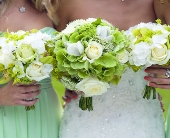 Green Hydrangea & White Roses in Seattle WA, Topper's European Floral Design