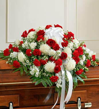 Red and White Casket Spray in Port Orange, Florida, Port Orange Florist