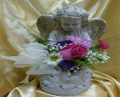 Girl Angel With Flowers in Frankfort, Illinois, The Flower Cottage
