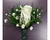 White Rose Boutonniere in Raleigh NC, Gingerbread House Florist - Raleigh NC