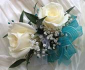 DOUBLE WHITE ROSES WITH TURQUOISE RIBBON & GEMS CO in Ossining NY, Rubrums Florist Ltd.