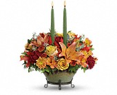 Teleflora's Golden Fall Centerpiece in Edmonton AB, Petals For Less Ltd.