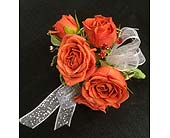 Orange Rose Wrist Corsage in Belleville ON, Live, Love and Laugh Flowers, Antiques and Gifts