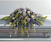 Lavender & Blue Casket Spray in Moline IL, K'nees Florists