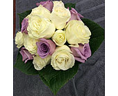 White and Lavender Rose Clutch BQ in Maspeth NY, Grand Florist