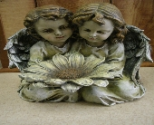 Twin Angels with Flower Figurine in Ionia MI, Sid's Flower Shop