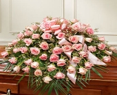 Pink Rose Half Casket Cover in Arizona,, Arizona, Fresh Bloomers Flowers & Gifts, Inc
