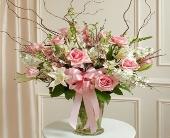 Pink & White Large Sympathy Vase Arrangement in Arizona,, Arizona, Fresh Bloomers Flowers & Gifts, Inc