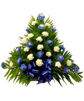 32 Carnation Tribute Mache: Blue and White in Indianapolis IN, Steve's Flowers and Gifts