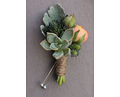 Succulent boutonni�re in Ammon ID, Petal Passion