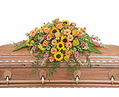 Heaven's Sunset Casket Spray in Holladay UT, Brown Floral