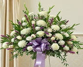 Lavender & White Basket in Staten Island NY, Buds & Blooms Florist