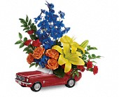 Living The Dream '65 Ford Mustang by Teleflora in Medford OR, B. Cazwell's Floral Dezines LLC