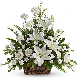 Peaceful White Lilies Basket in Perrysburg & Toledo OH - Ann Arbor MI OH, Ken's Flower Shops