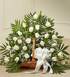 White Roses Basket in East Amherst NY, American Beauty Florists
