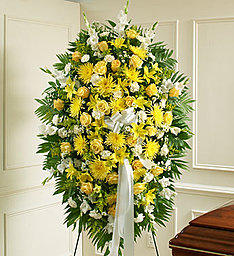 Yellow & White Standing Spray in East Amherst NY, American Beauty Florists