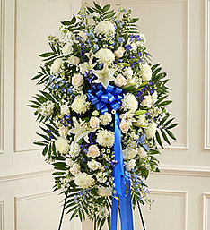 Blue & White Standing Spray in East Amherst NY, American Beauty Florists