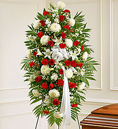 Red & White Standing Spray in East Amherst NY, American Beauty Florists