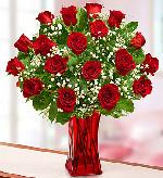 Austin Flowers - Blooming Love™ Premium Red Roses in Red Vase - Heart & Home Flowers