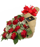 Burlap Blooms: Red Roses in Newport News VA, Pollard's Florist