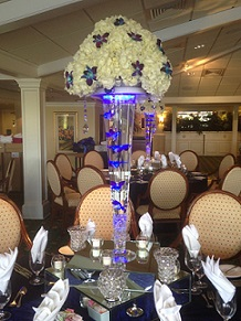 Trumpet Vase with Hydrangea and Orchid Topper in Stuart FL, Harbour Bay Florist