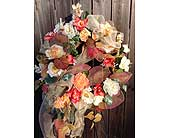 Peach & Gold Floral Wreath in Franklinton LA, Margie's Florist