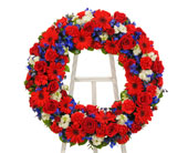 Patriotic Open Wreath Display in Dallas TX, In Bloom Flowers, Gifts and More