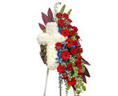 Patriotic Cross With Spray in Dallas TX, In Bloom Flowers, Gifts and More