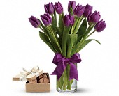 Passionate Purple Tulipswith chocolates in Amherst NY, The Trillium's Courtyard Florist