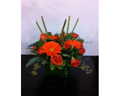 Gerbera mix with spray roses in vase in West Vancouver BC, Flowers By Nan