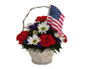 Red, White and Blue Patriotic Basket in Southfield MI, Thrifty Florist