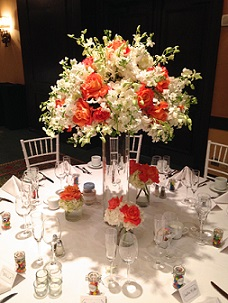 Coral and White Centerpiece in Stuart, Florida, Harbour Bay Florist
