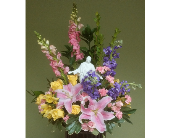 MIXED ARRANGEMENT WITH JESUS STATUE in Woodbridge NJ, Floral Expressions