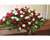 Red & White Casket Cover in Smyrna GA, Floral Creations Florist