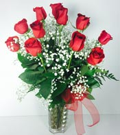 CRYSTAL DOZEN RED ROSES  by Rubrums in Ossining NY, Rubrums Florist Ltd.